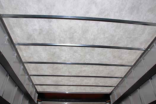 A closeup of the roof of a Summit Body truck body